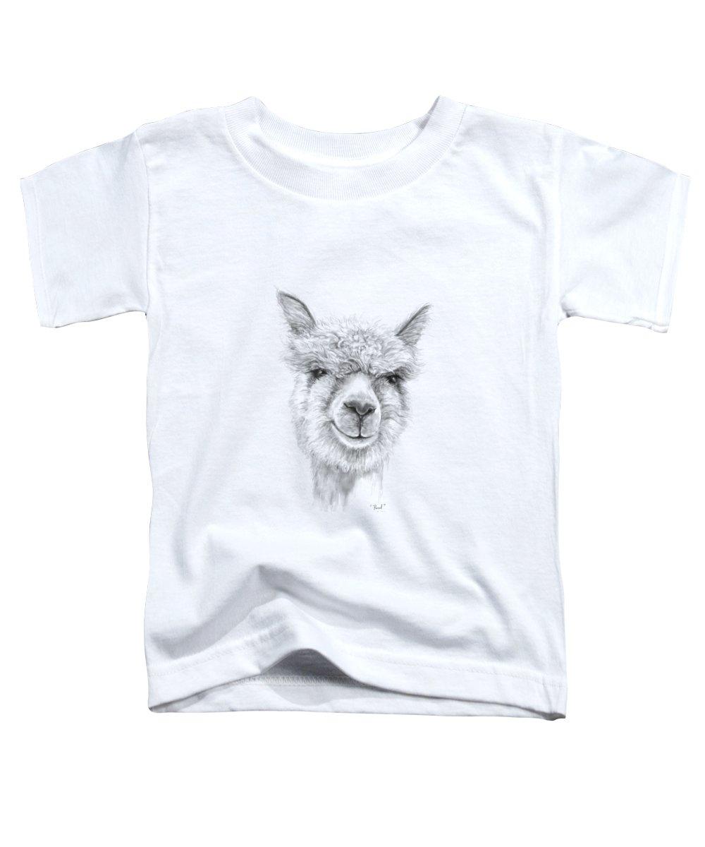 Llama Art Toddler T-Shirt featuring the drawing Paul by K Llamas