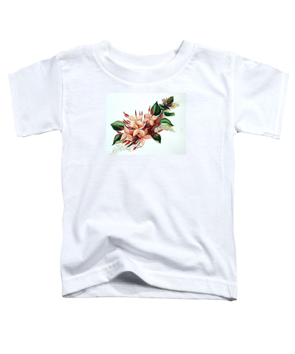 Floral Peach Flower Watercolor Ixora Botanical Bloom Toddler T-Shirt featuring the painting Peachy Ixora by Karin Dawn Kelshall- Best