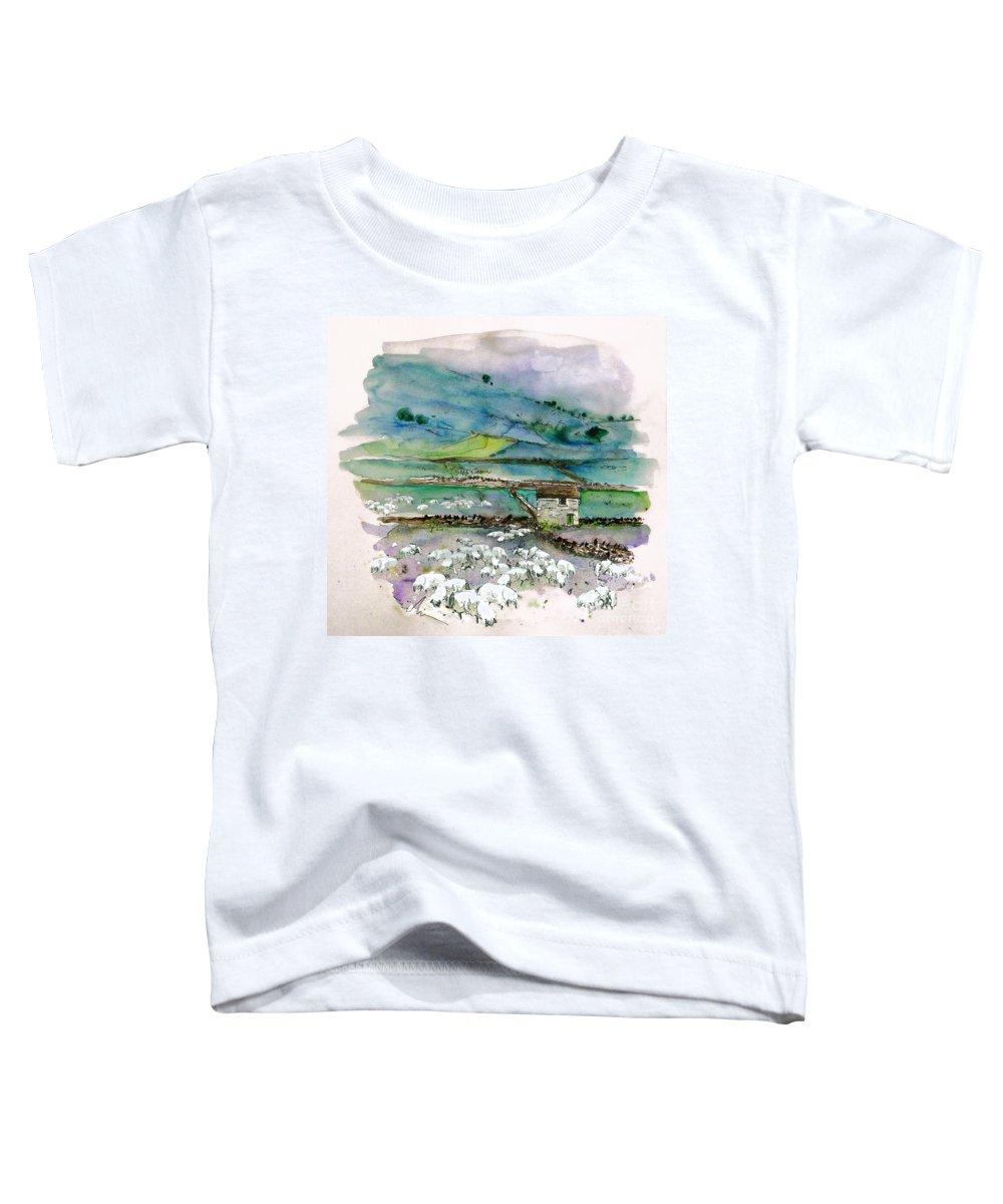Paintings England Watercolour Travel Sketches Ink Drawings Art Landscape Paintings Town Toddler T-Shirt featuring the painting Peak District Uk Travel Sketch by Miki De Goodaboom