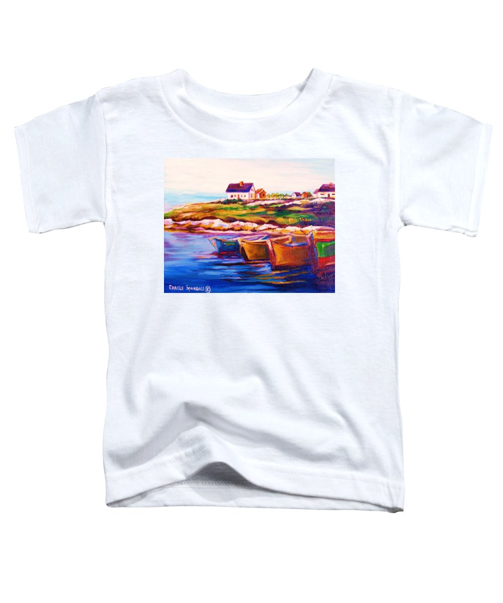 Row Boats Toddler T-Shirt featuring the painting Peggys Cove Four Row Boats by Carole Spandau