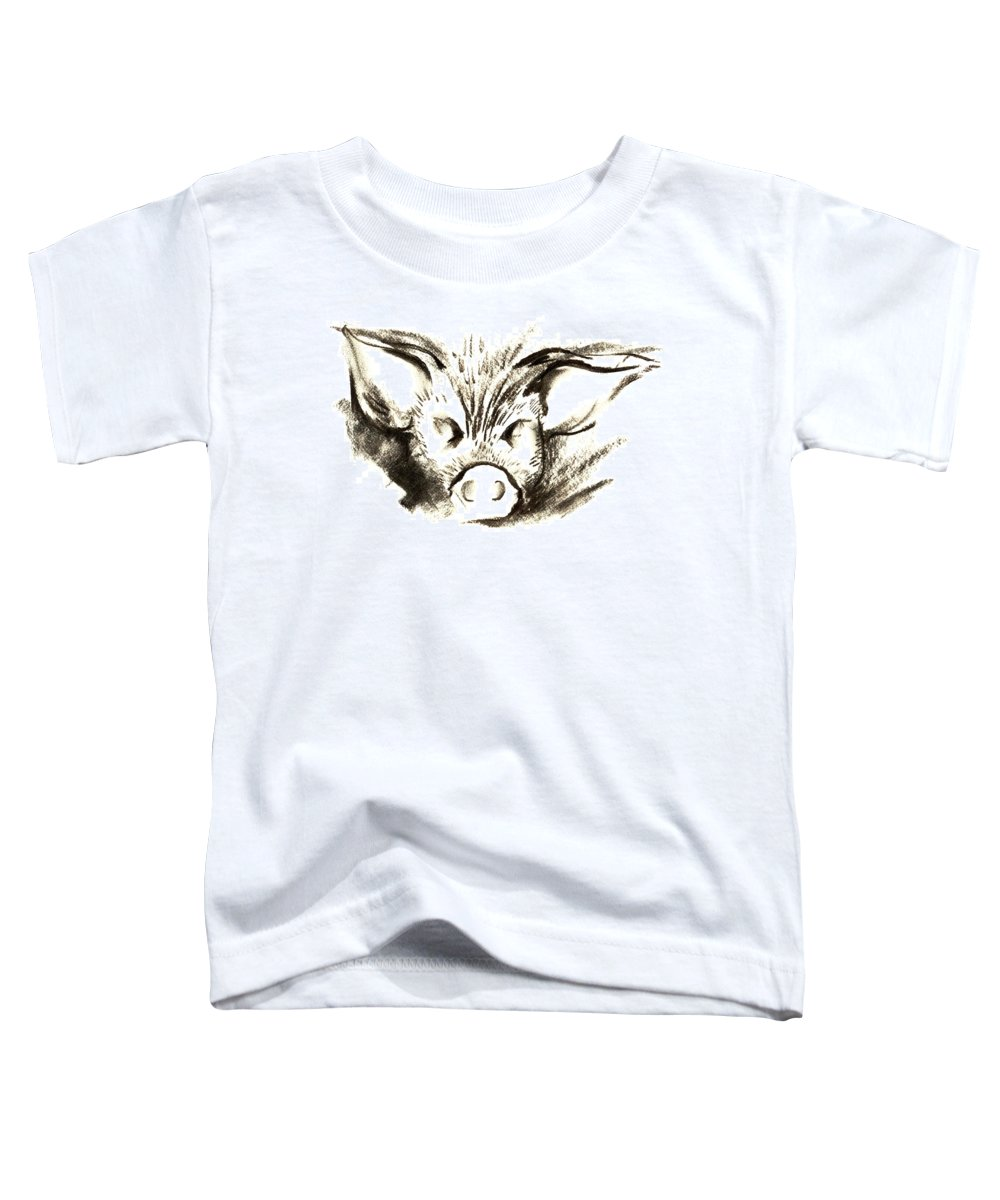 Animal Welfare Toddler T-Shirt featuring the drawing Pig Headed by Mark Cawood