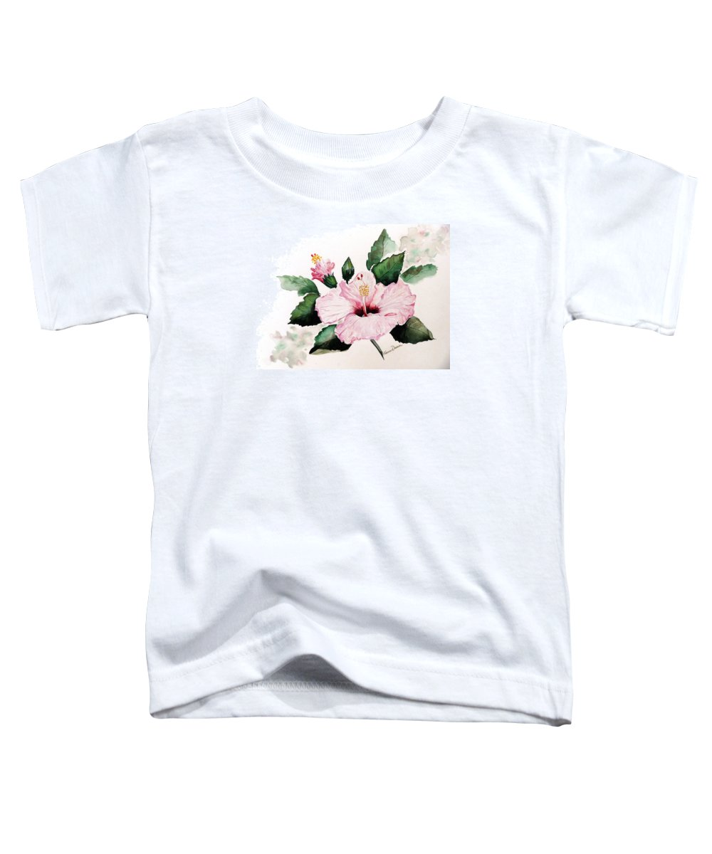 Hibiscus Painting  Floral Painting Flower Pink Hibiscus Tropical Bloom Caribbean Painting Toddler T-Shirt featuring the painting Pink Hibiscus by Karin Dawn Kelshall- Best