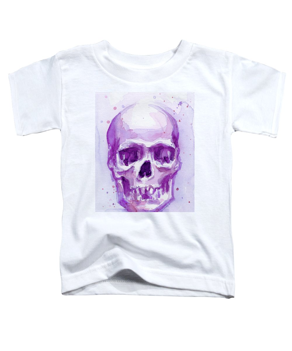 Purple Toddler T-Shirt featuring the painting Pink Purple Skull by Olga Shvartsur