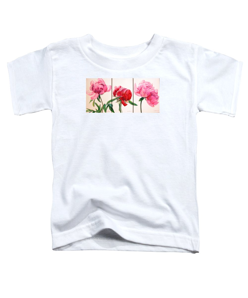 Floral Painting Toddler T-Shirt featuring the painting Pivoines by Muriel Dolemieux