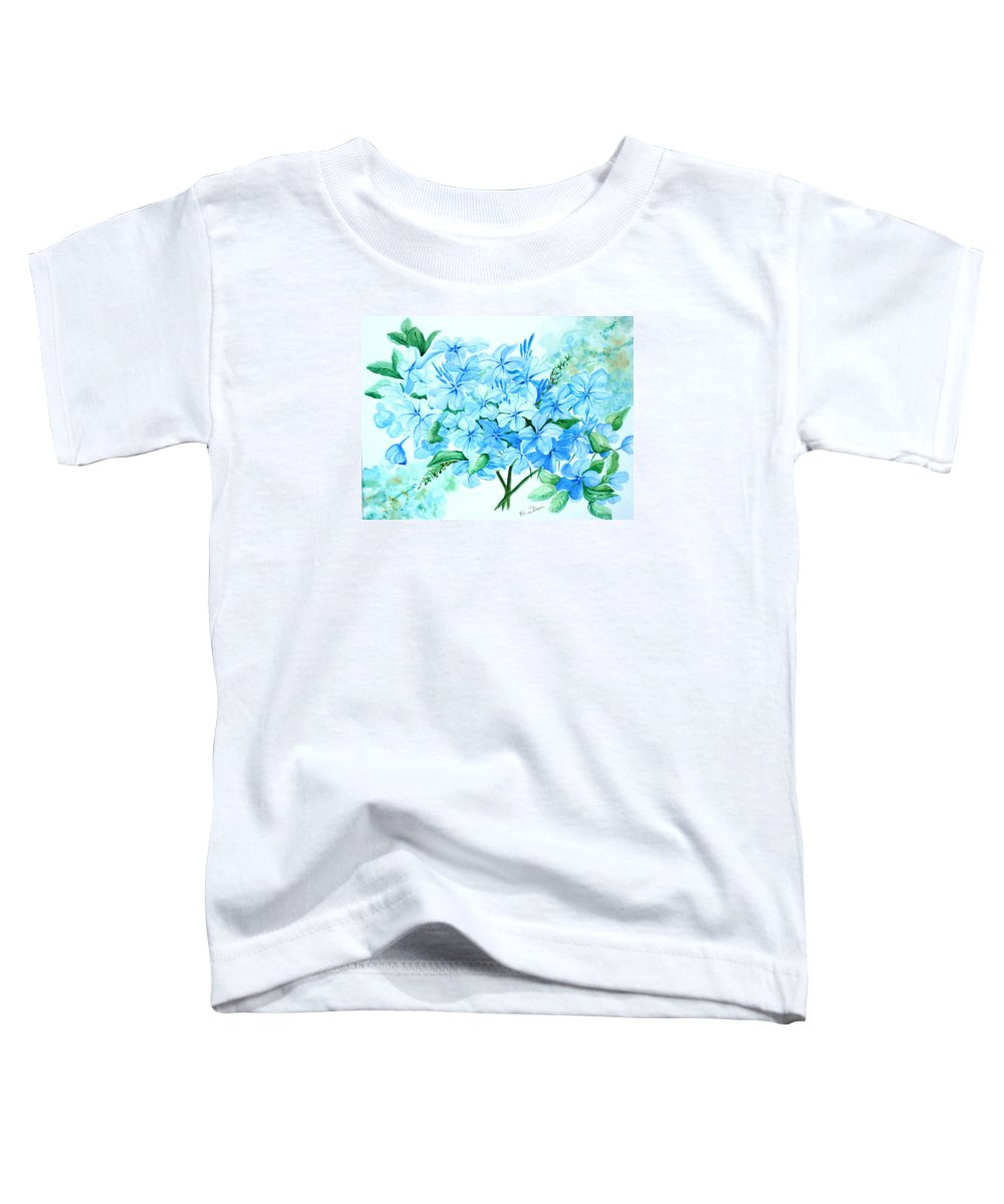 Floral Blue Painting Plumbago Painting Flower Painting Botanical Painting Bloom Blue Painting Toddler T-Shirt featuring the painting Plumbago by Karin Dawn Kelshall- Best