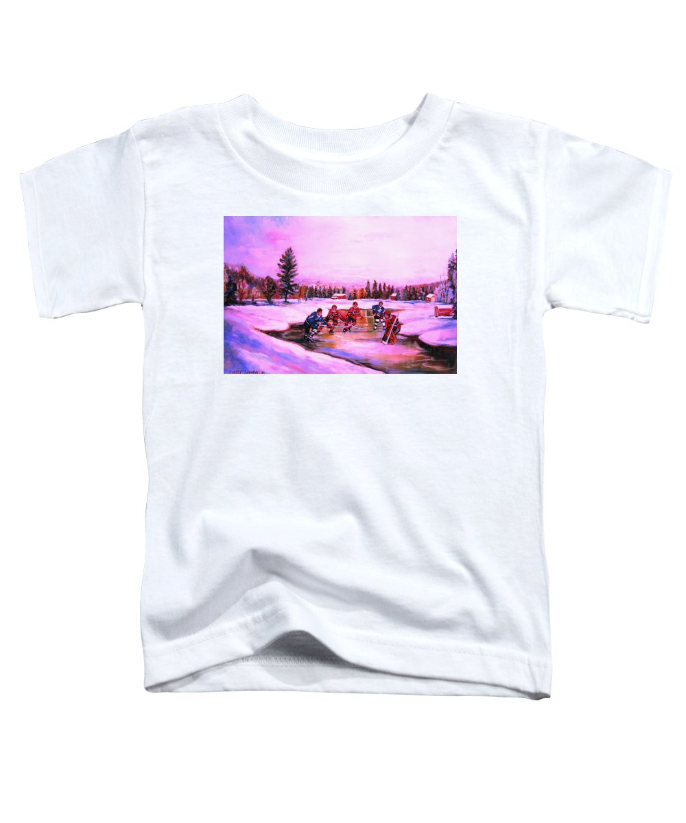 Hockey Toddler T-Shirt featuring the painting Pond Hockey Warm Skies by Carole Spandau