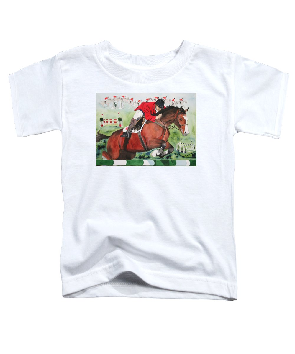 Horse Toddler T-Shirt featuring the painting Practice Makes Perfect by Jean Blackmer