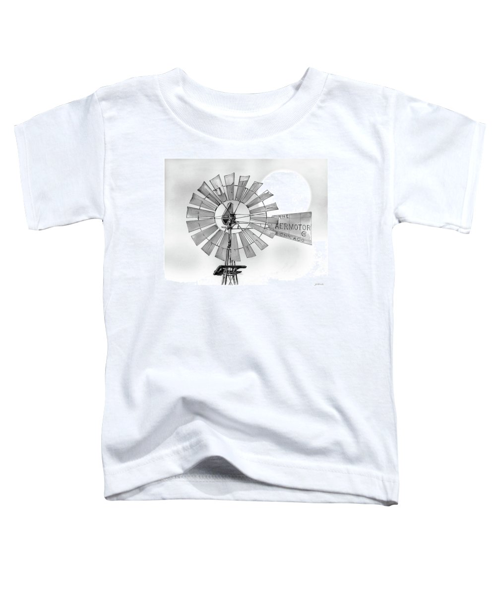 Aermotor Toddler T-Shirt featuring the drawing Prairie Sentinel by Greg Joens
