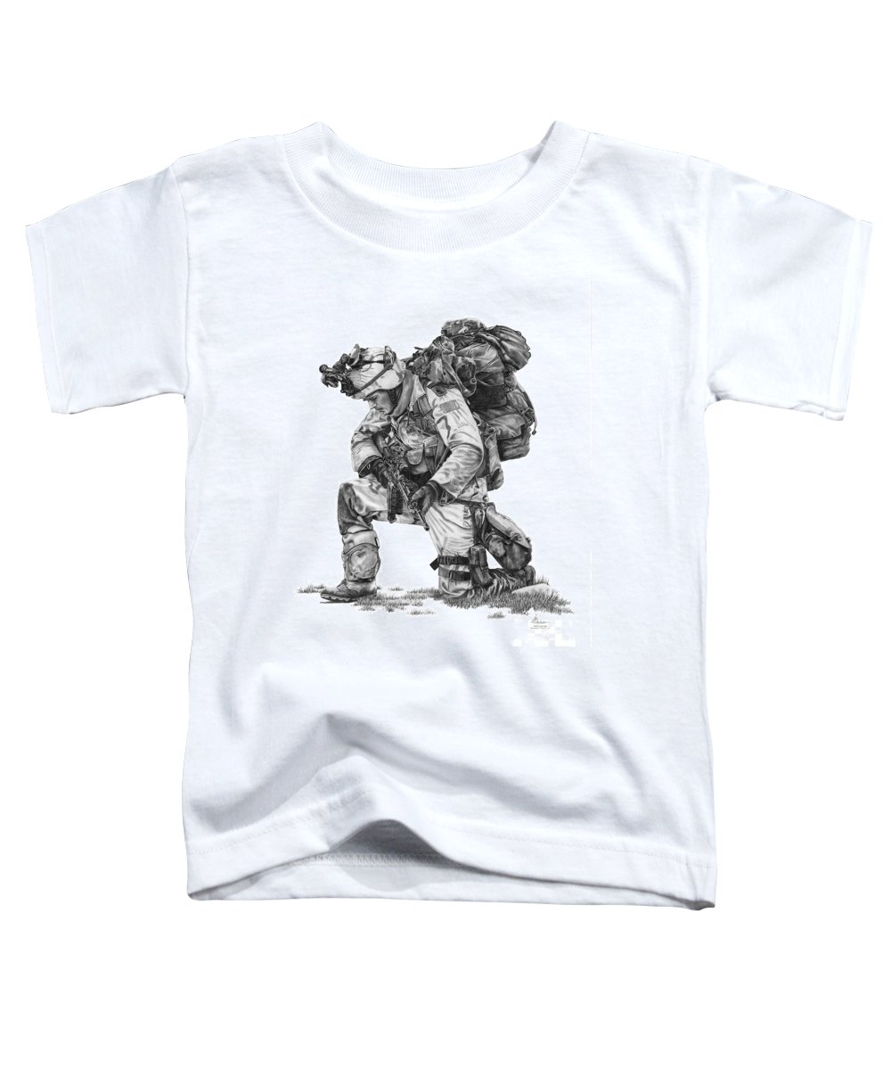 Pencil Toddler T-Shirt featuring the drawing Praying Soldier by Murphy Elliott
