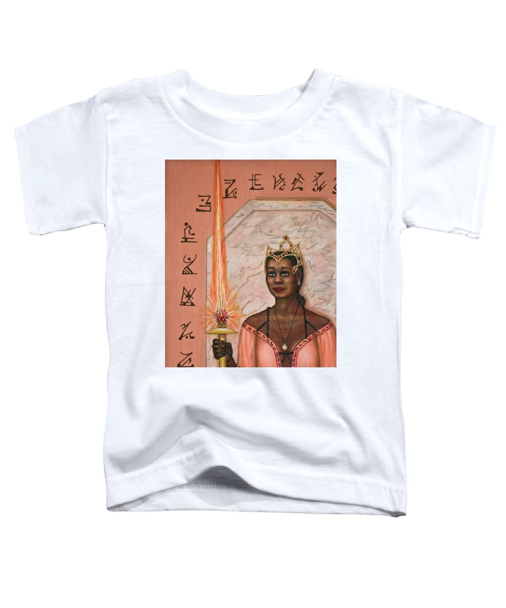 Fantasy Toddler T-Shirt featuring the painting Queens New Toy by Roz Eve