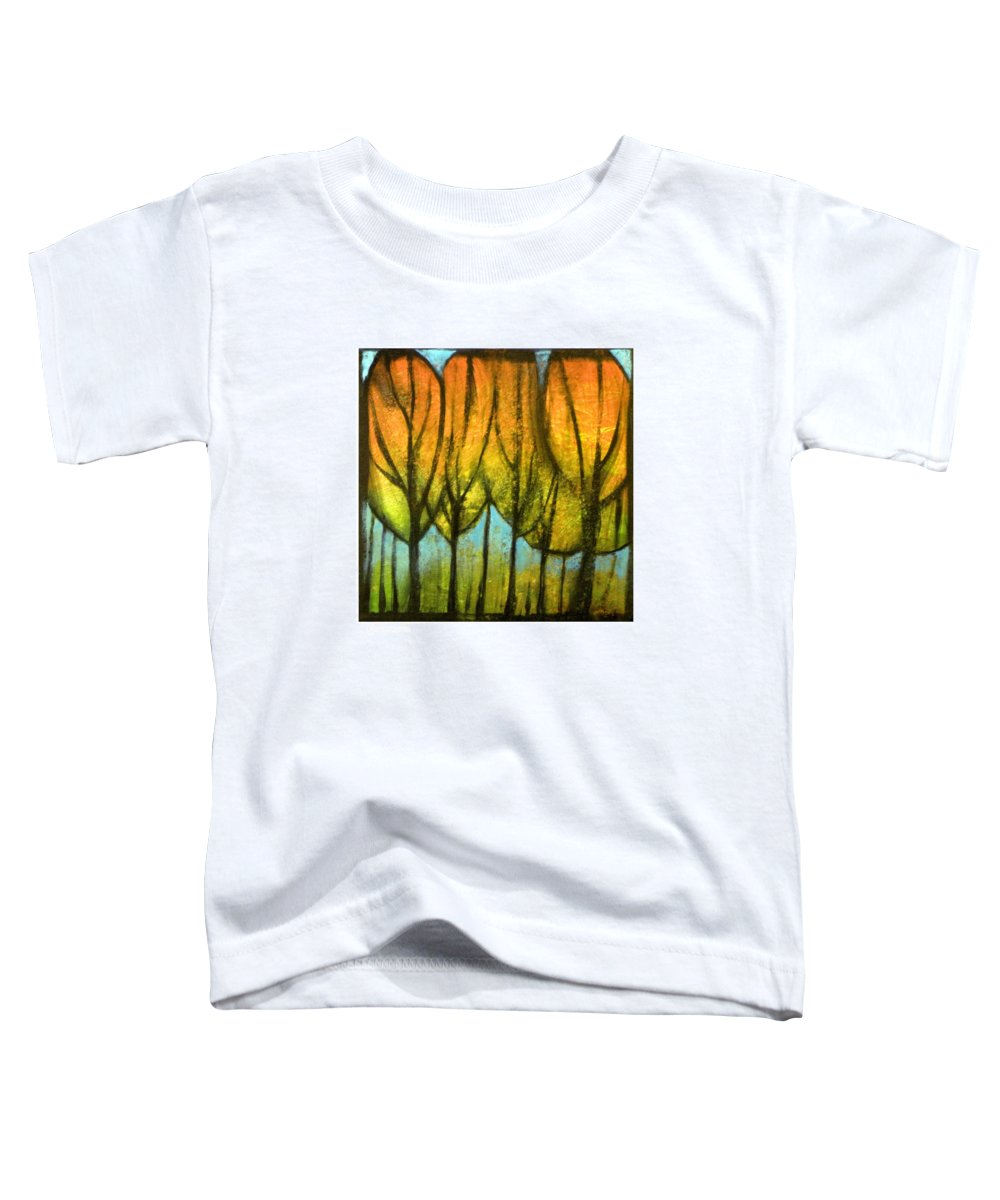 Trees Toddler T-Shirt featuring the painting Quiet Blaze by Tim Nyberg