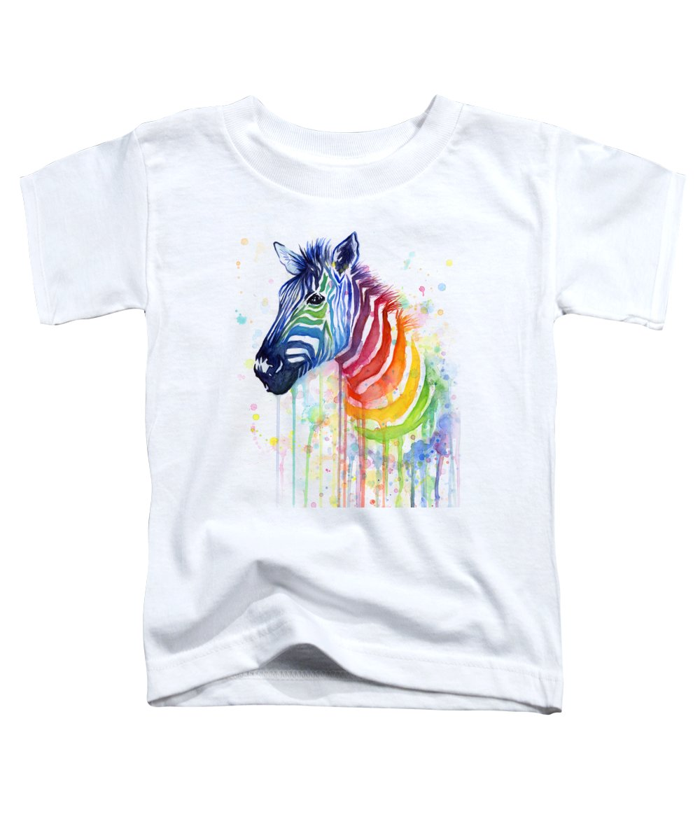 Rainbow Toddler T-Shirt featuring the painting Rainbow Zebra - Ode To Fruit Stripes by Olga Shvartsur