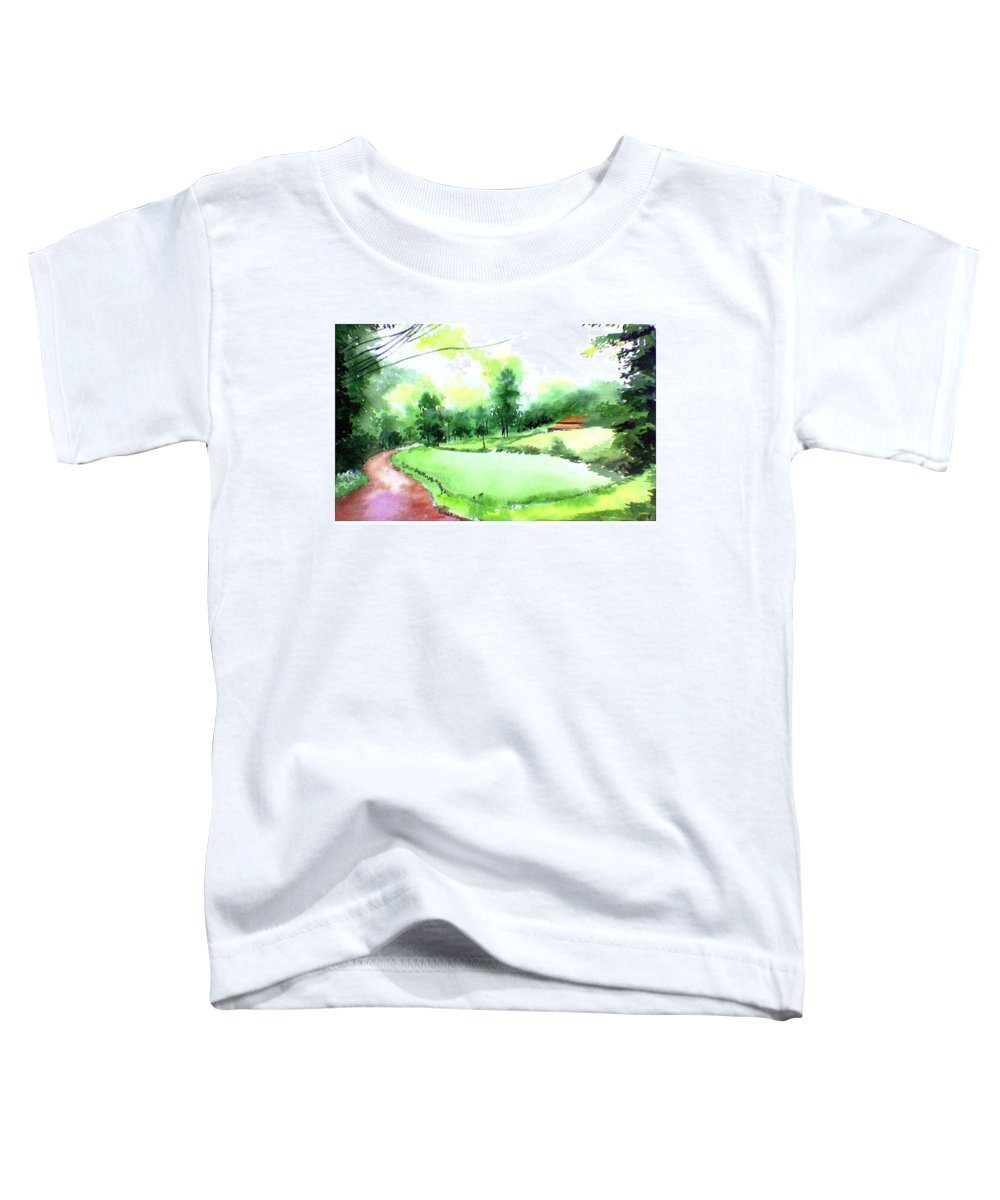 Landscape Toddler T-Shirt featuring the painting Rains In West by Anil Nene