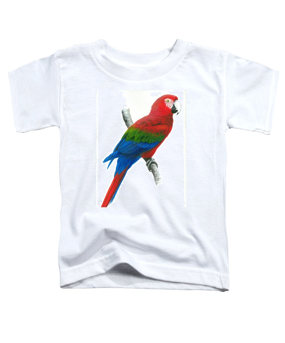 Chris Cox Toddler T-Shirt featuring the painting Red And Green Macaw by Christopher Cox