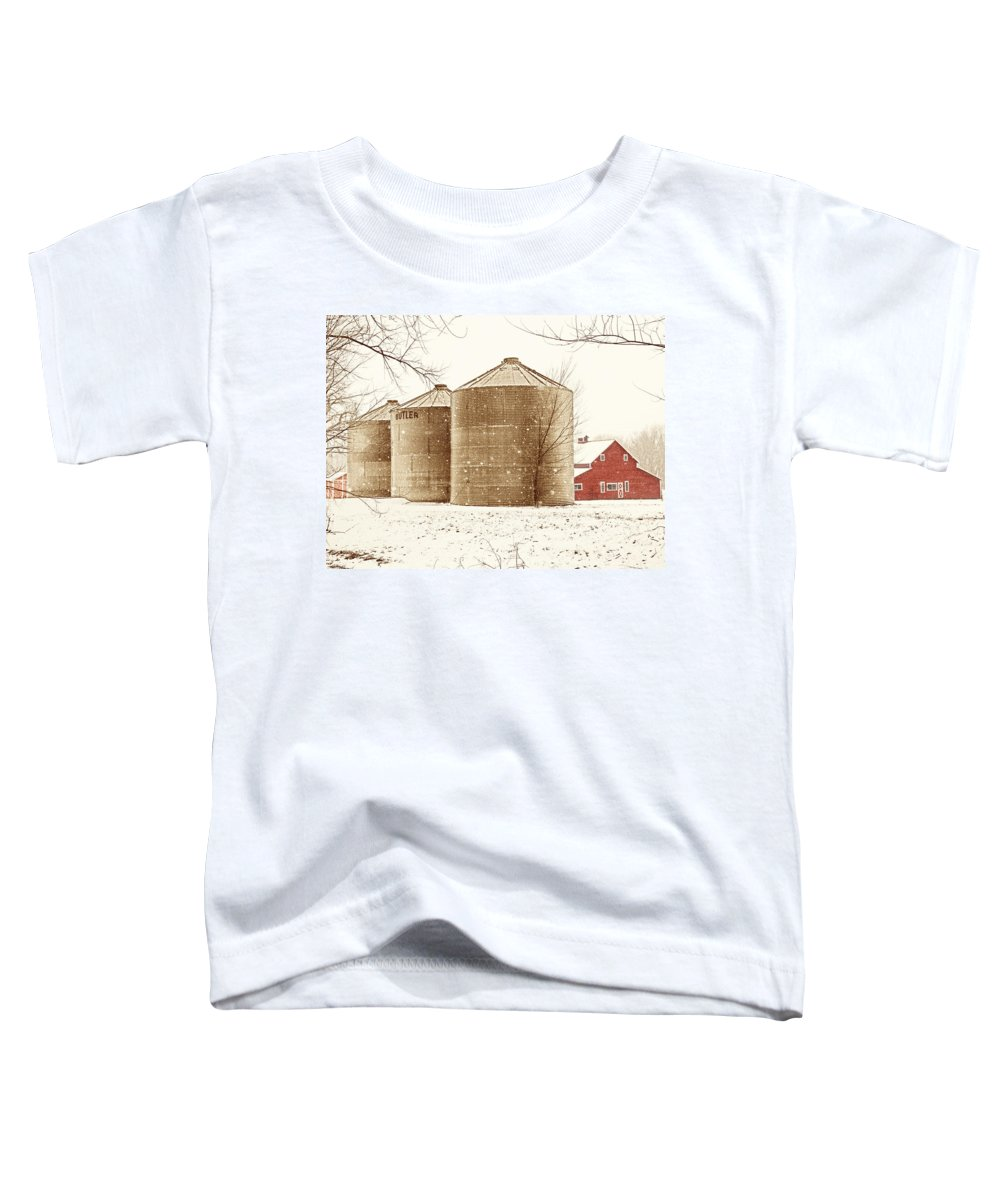 Americana Toddler T-Shirt featuring the photograph Red Barn In Snow by Marilyn Hunt