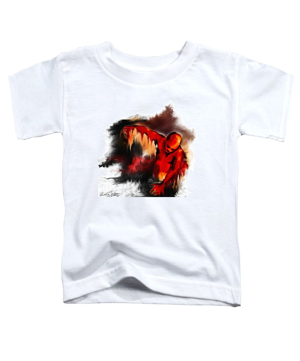 Red Man Passion Sureall Fire Toddler T-Shirt featuring the digital art Red Man by Veronica Jackson