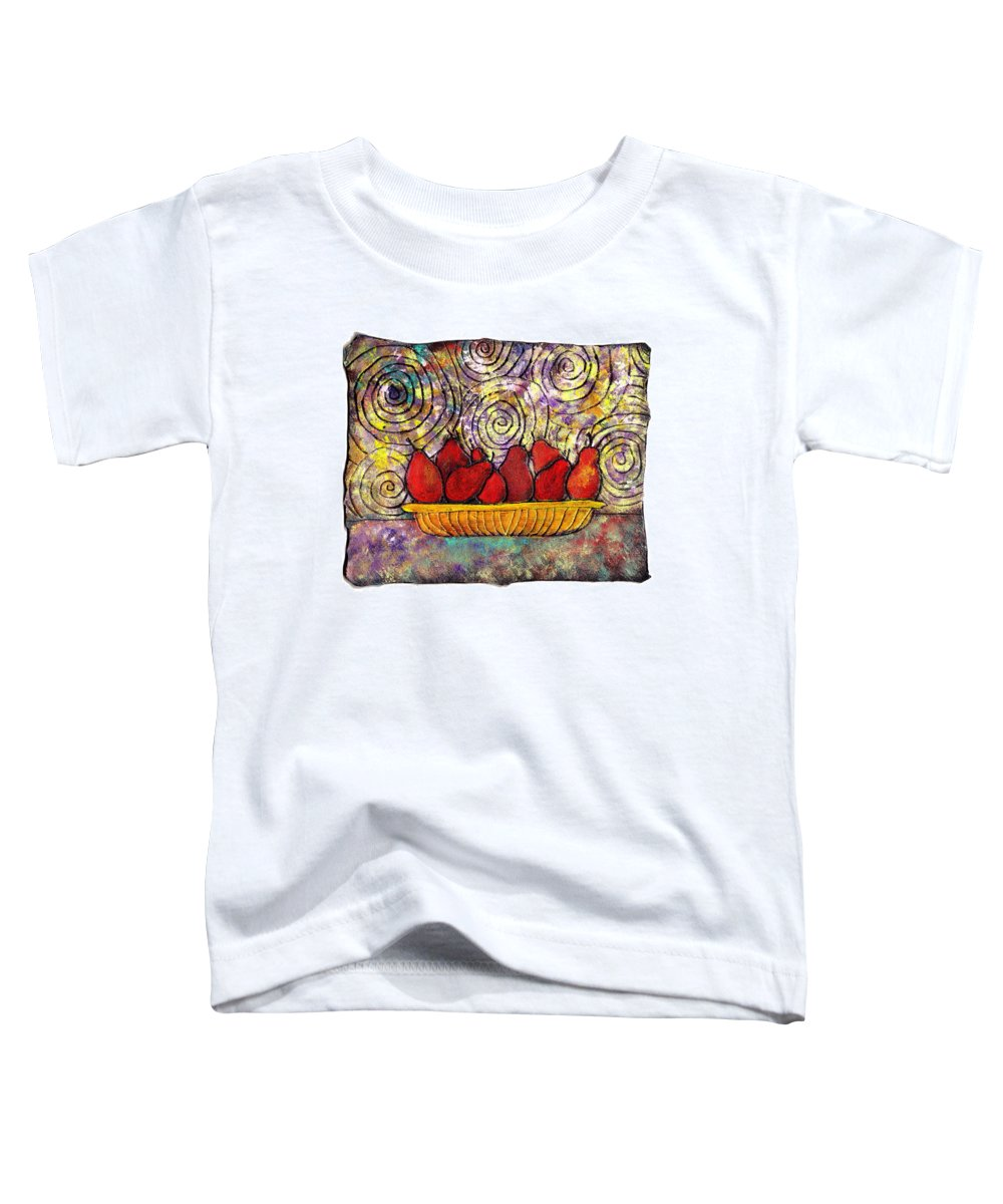 Spirals Toddler T-Shirt featuring the painting Red Pears In A Bowl by Wayne Potrafka