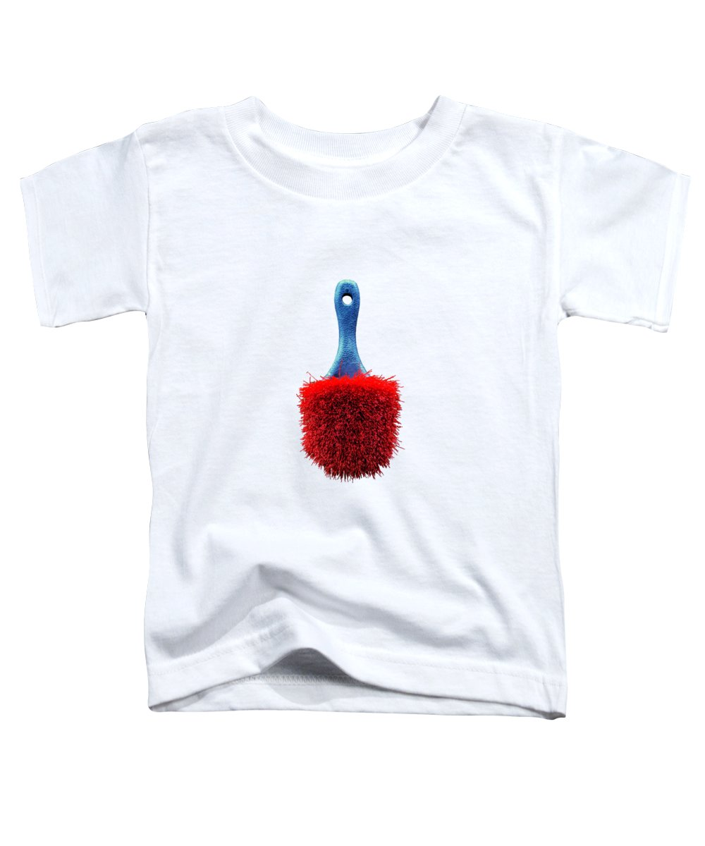 Art Toddler T-Shirt featuring the photograph Red Scrub Brush On Plywood 56 On Bw by YoPedro