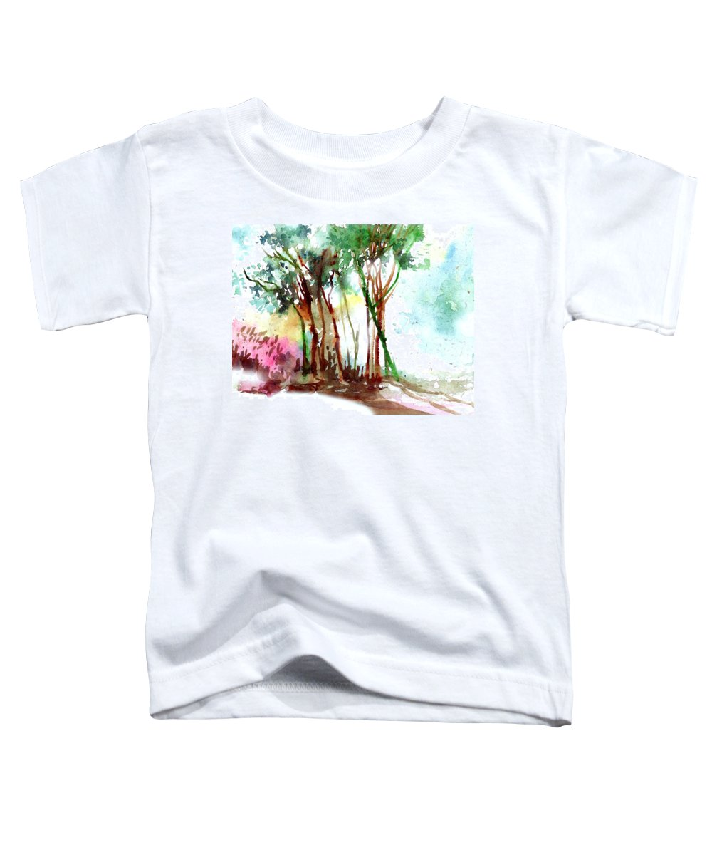 Landscape Toddler T-Shirt featuring the painting Red Trees by Anil Nene