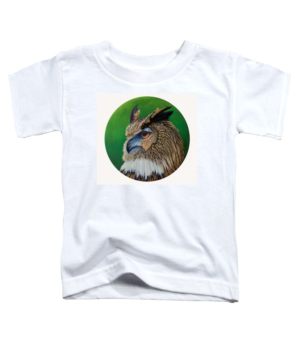 Owl Toddler T-Shirt featuring the painting Regal Gaze by Brian Commerford