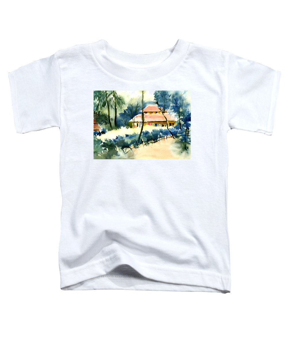 Landscape Toddler T-Shirt featuring the painting Rest House by Anil Nene