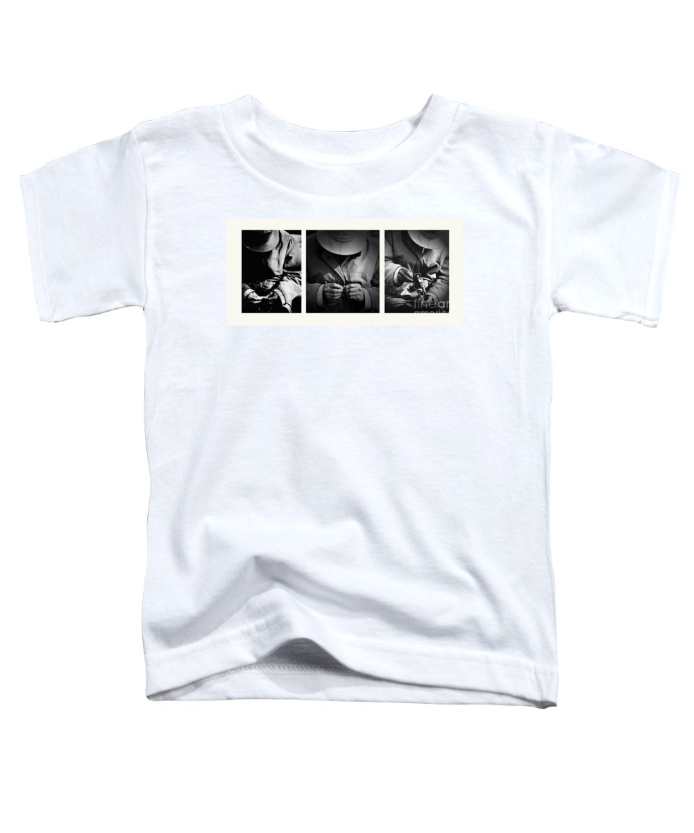 Rollup Rolling Cigarette Smoker Smoking Man Hat Monochrome Toddler T-Shirt featuring the photograph Rolling His Own by Sheila Smart Fine Art Photography