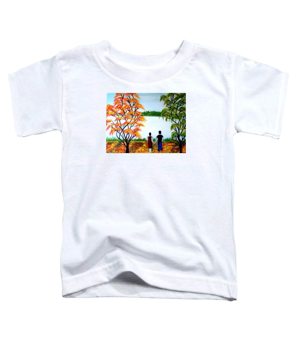Romance Figures Autumn Orange Trees Green Pop Water Lake Love Valentine Yellow Lake Spring Bloom Toddler T-Shirt featuring the painting Romance In Autumn by Manjiri Kanvinde