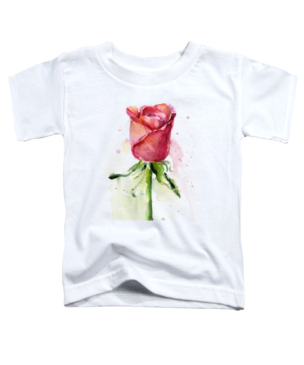 Rose Toddler T-Shirt featuring the painting Rose Watercolor by Olga Shvartsur