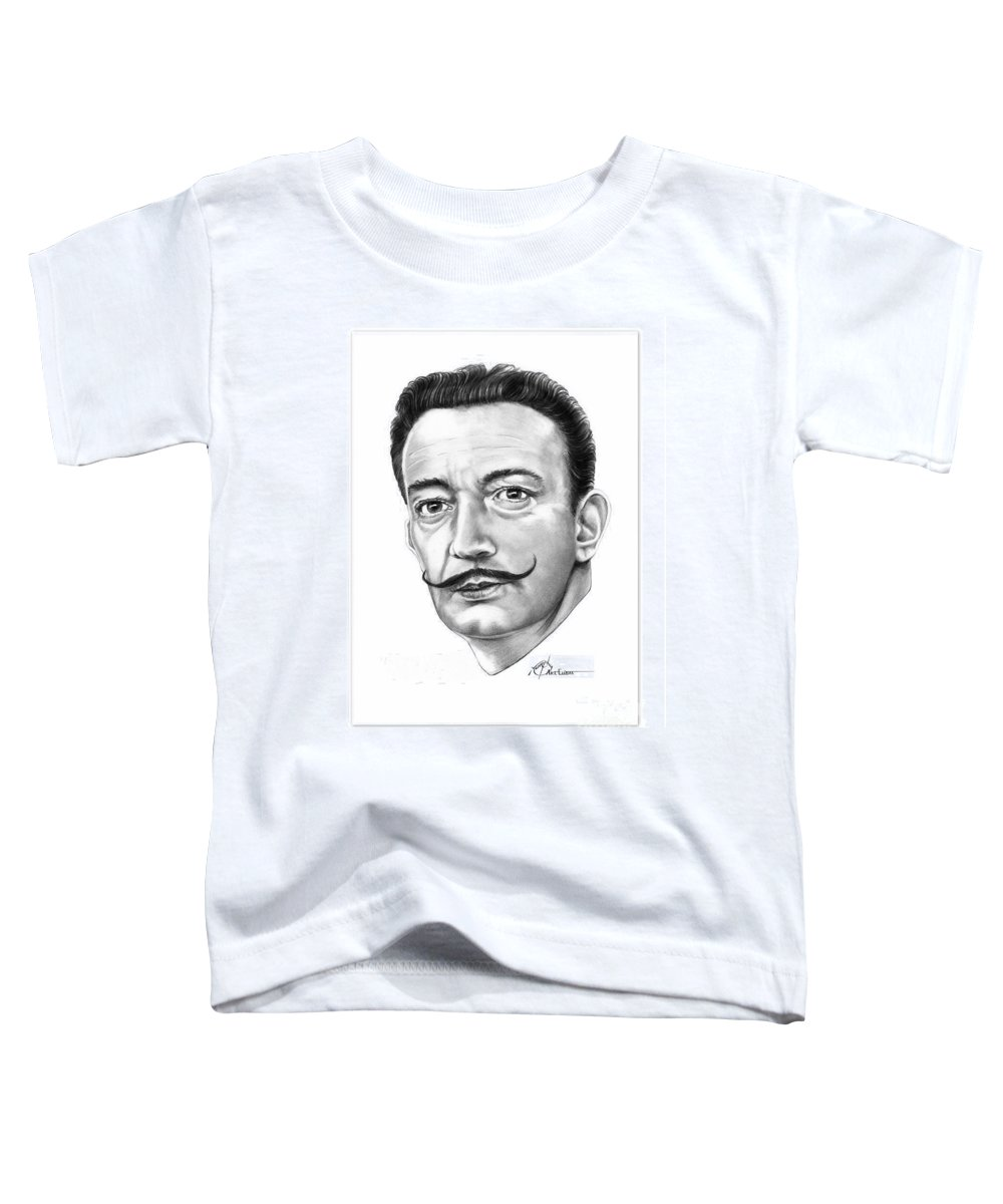 Drawing Toddler T-Shirt featuring the drawing Salvador Dali by Murphy Elliott