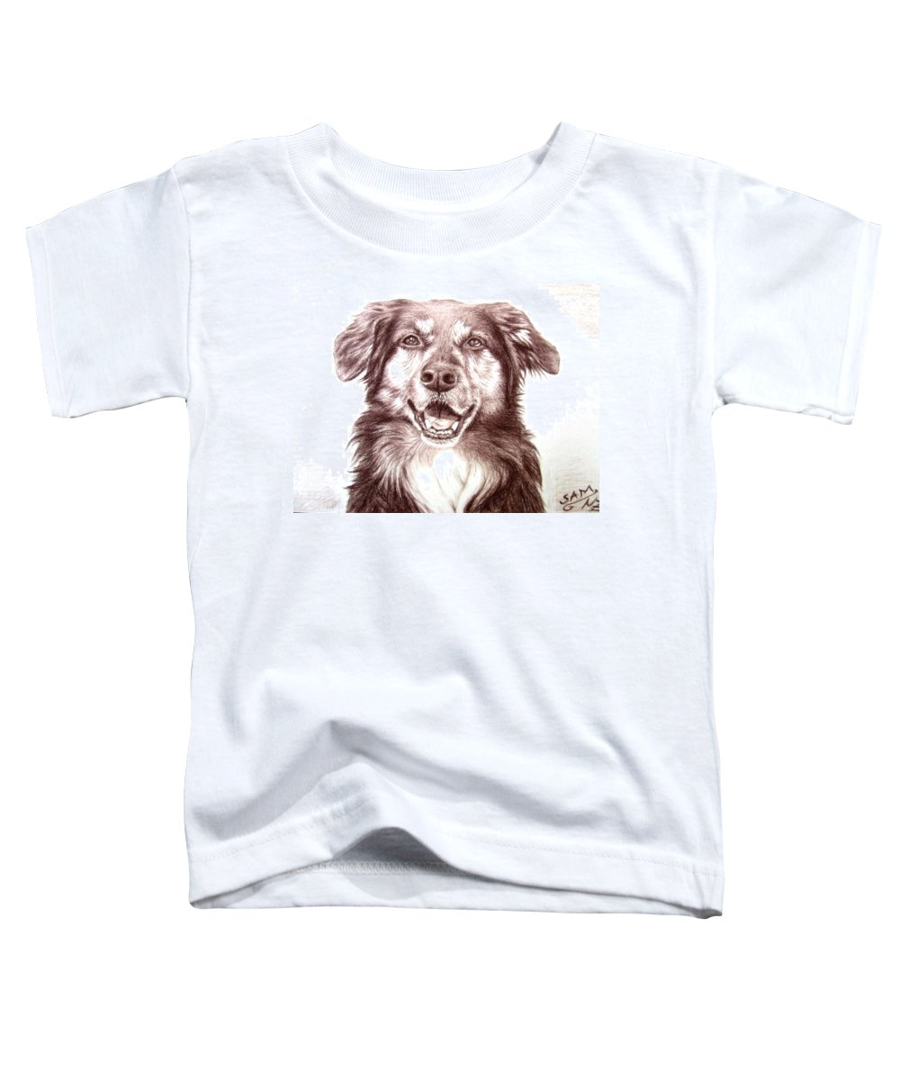 Dog Toddler T-Shirt featuring the drawing Sam by Nicole Zeug