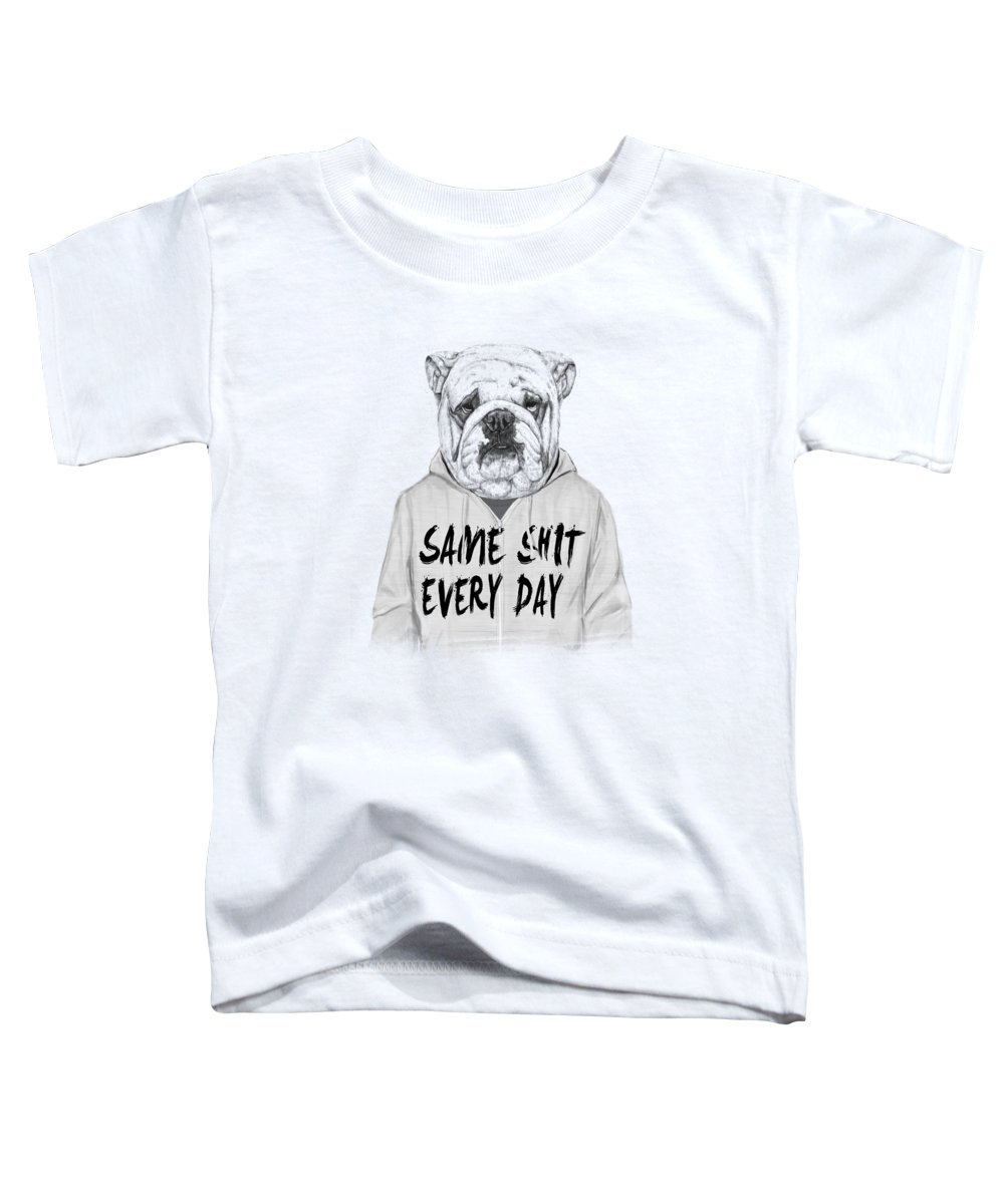 Dog Toddler T-Shirt featuring the mixed media Same shit... by Balazs Solti