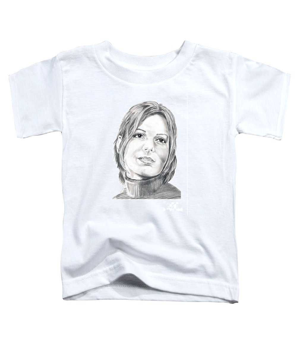 Drawing Toddler T-Shirt featuring the drawing Sandra Bullock by Murphy Elliott