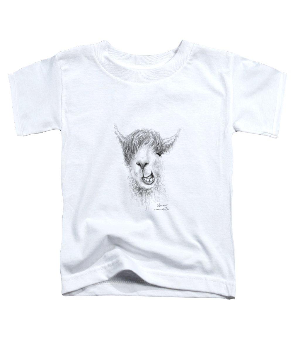Llama Art Toddler T-Shirt featuring the drawing Saren by K Llamas