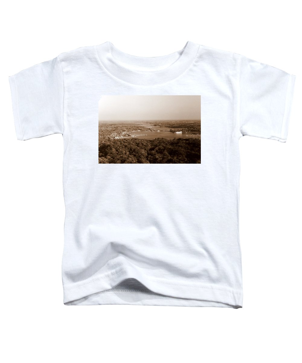 Saugatuck Toddler T-Shirt featuring the photograph Saugatuck Michigan Harbor Aerial Photograph by Michelle Calkins