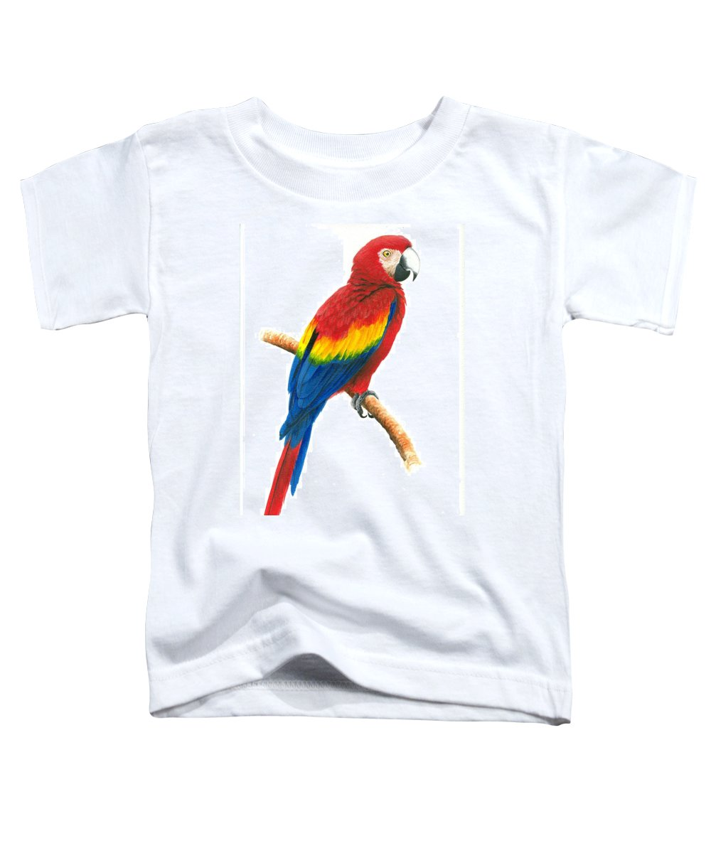 Chris Cox Toddler T-Shirt featuring the painting Scarlet Macaw by Christopher Cox