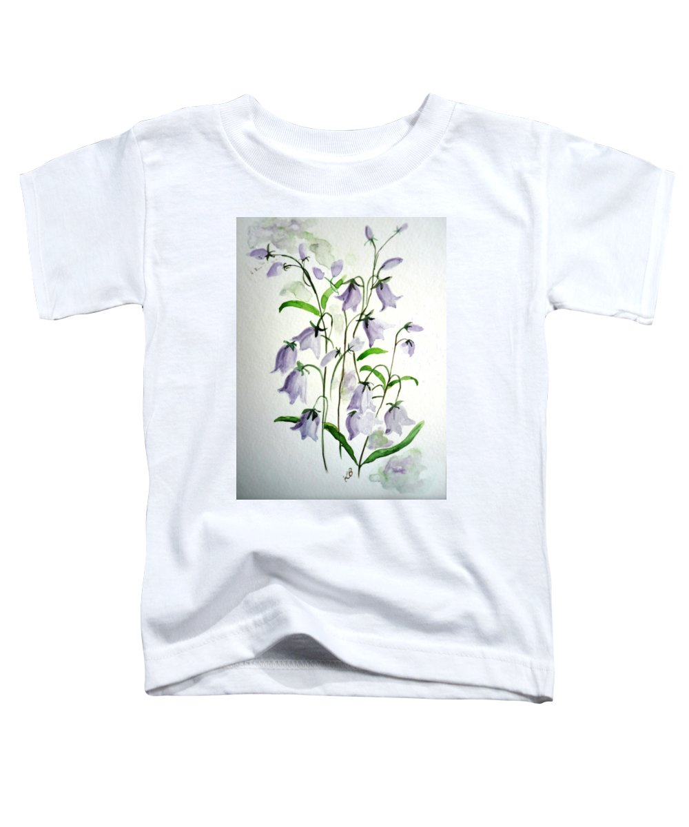 Blue Bells Hare Bells Purple Flower Flora Toddler T-Shirt featuring the painting Scottish Blue Bells by Karin Dawn Kelshall- Best