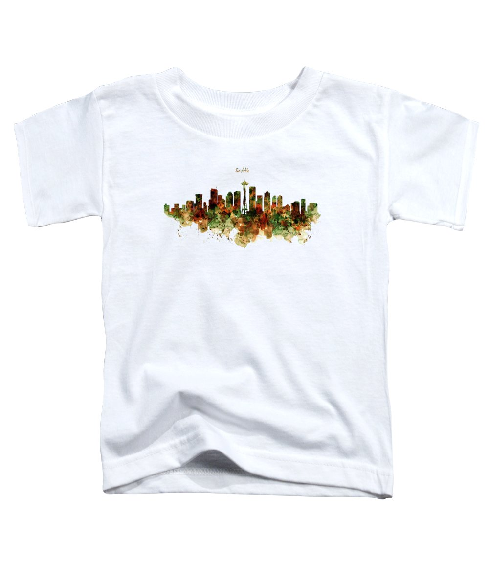 Seattle Toddler T-Shirt featuring the mixed media Seattle Watercolor Skyline Poster by Marian Voicu