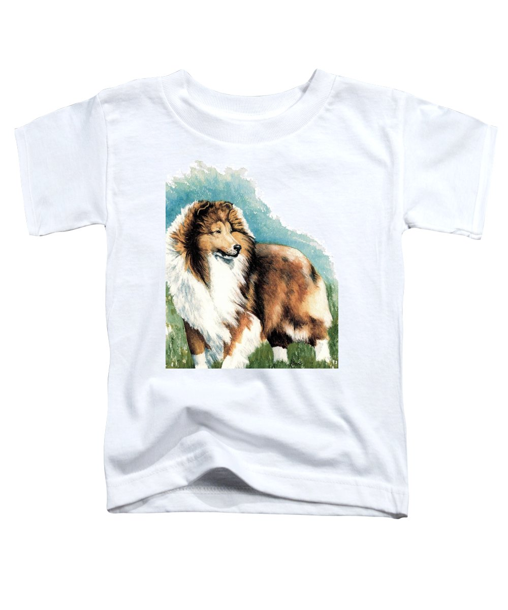Shetland Sheepdog Toddler T-Shirt featuring the painting Sheltie Watch by Kathleen Sepulveda