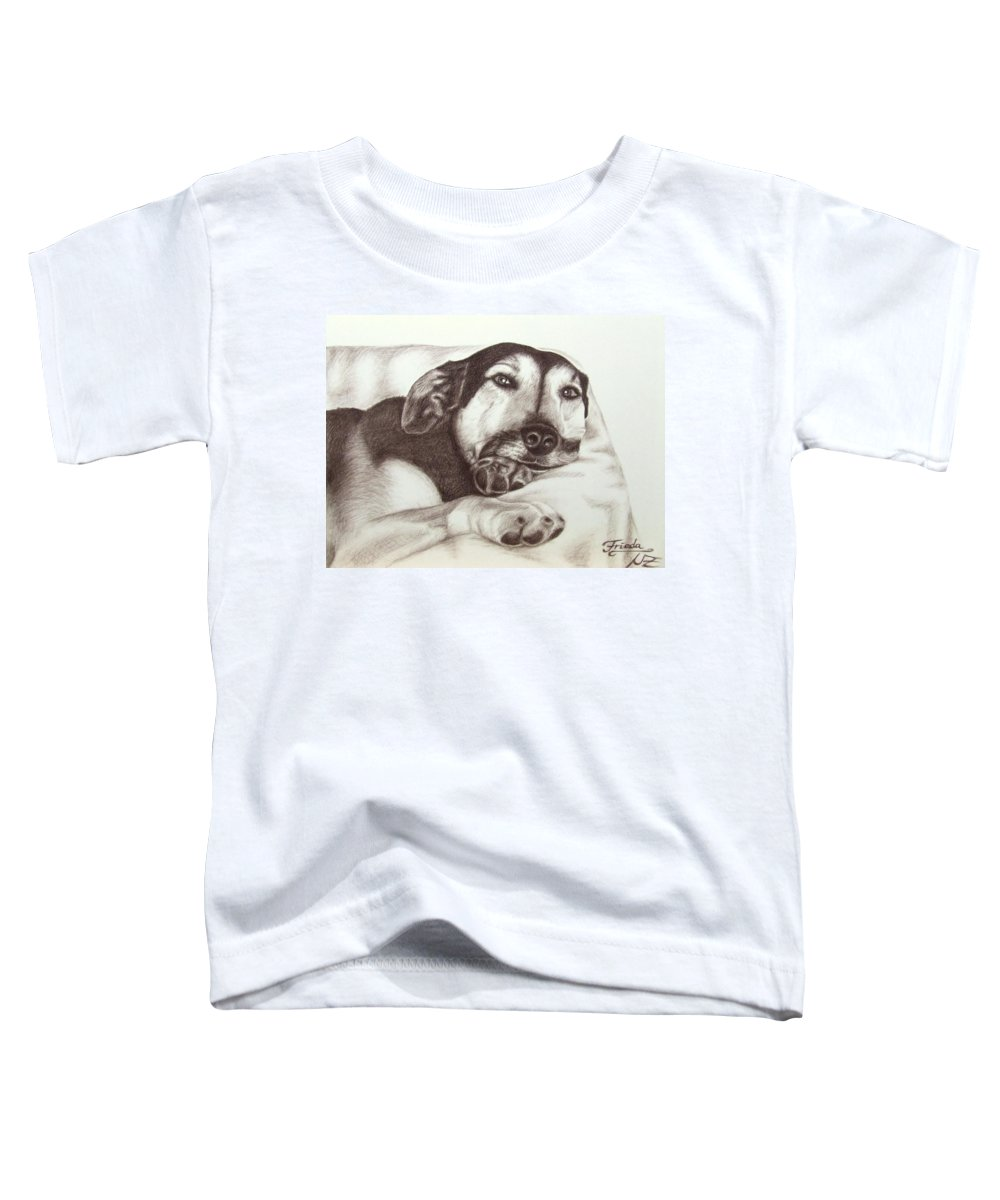 Dog Toddler T-Shirt featuring the drawing Shepherd Dog Frieda by Nicole Zeug