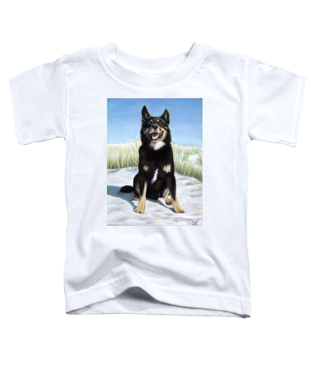 Dog Toddler T-Shirt featuring the pastel Shepherd Mix Timmy by Nicole Zeug