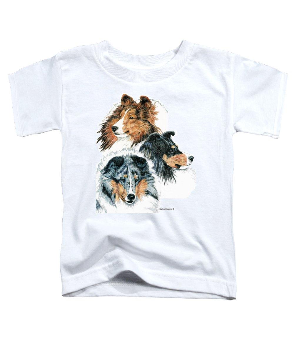 Shetland Sheepdog Toddler T-Shirt featuring the drawing Shetland Sheepdogs by Kathleen Sepulveda