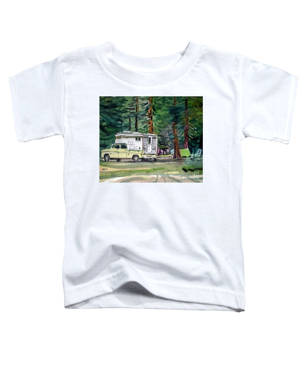 Camping Toddler T-Shirt featuring the painting Sierra Campsite by Donald Maier