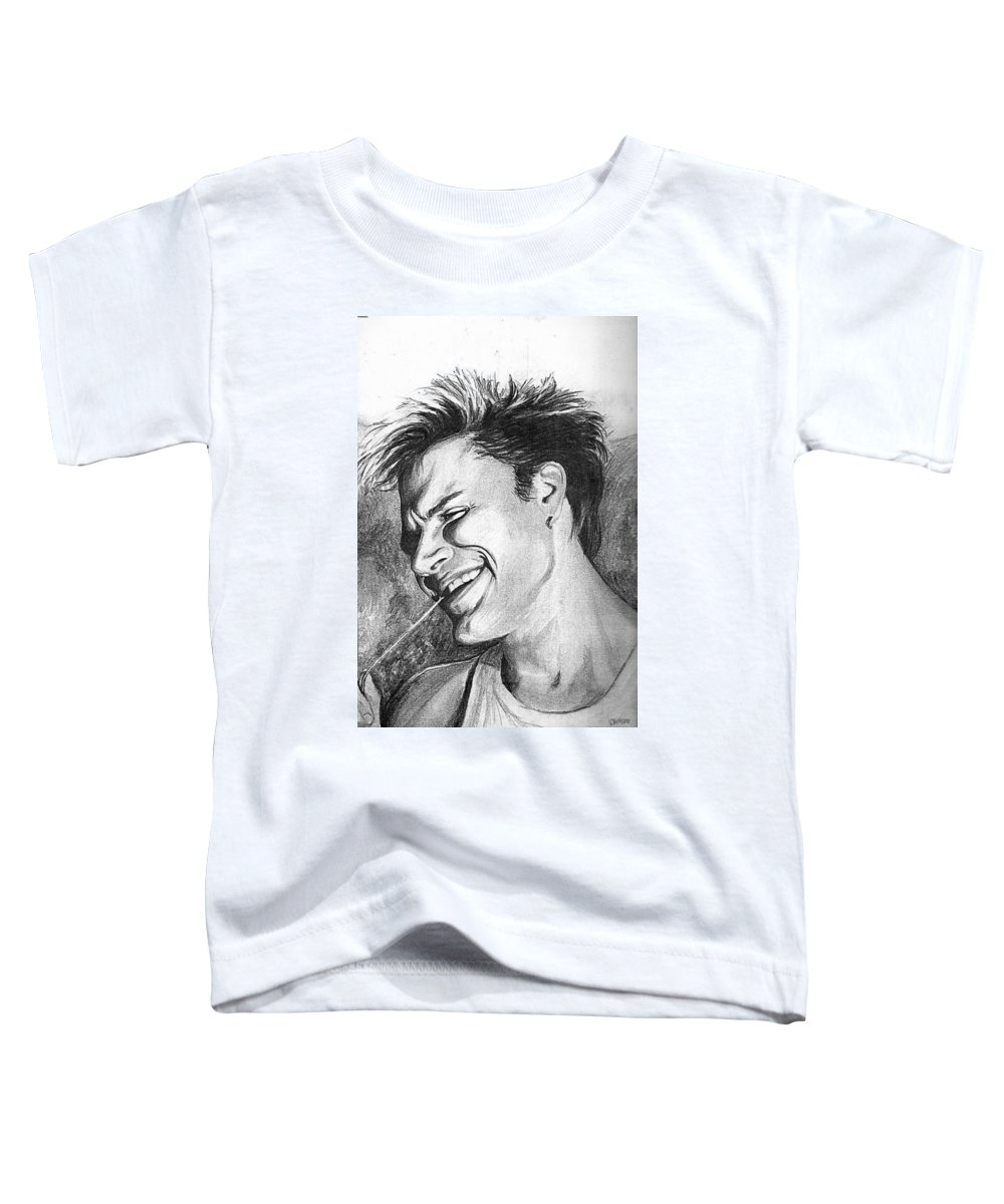 Simon Man Face Portrait Young Fresh Smile Toddler T-Shirt featuring the drawing Simon by Veronica Jackson