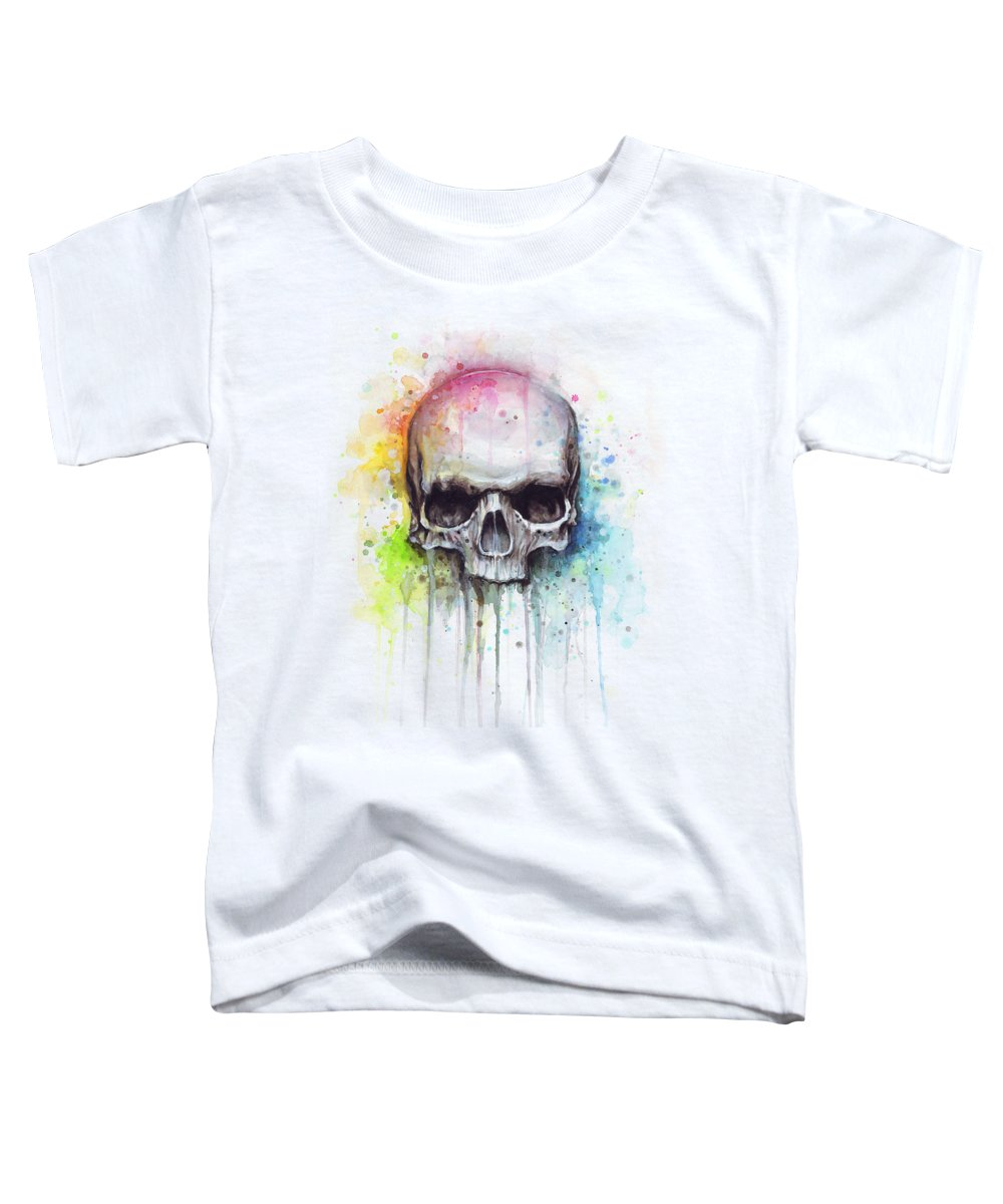Skull Toddler T-Shirt featuring the painting Skull Watercolor Painting by Olga Shvartsur