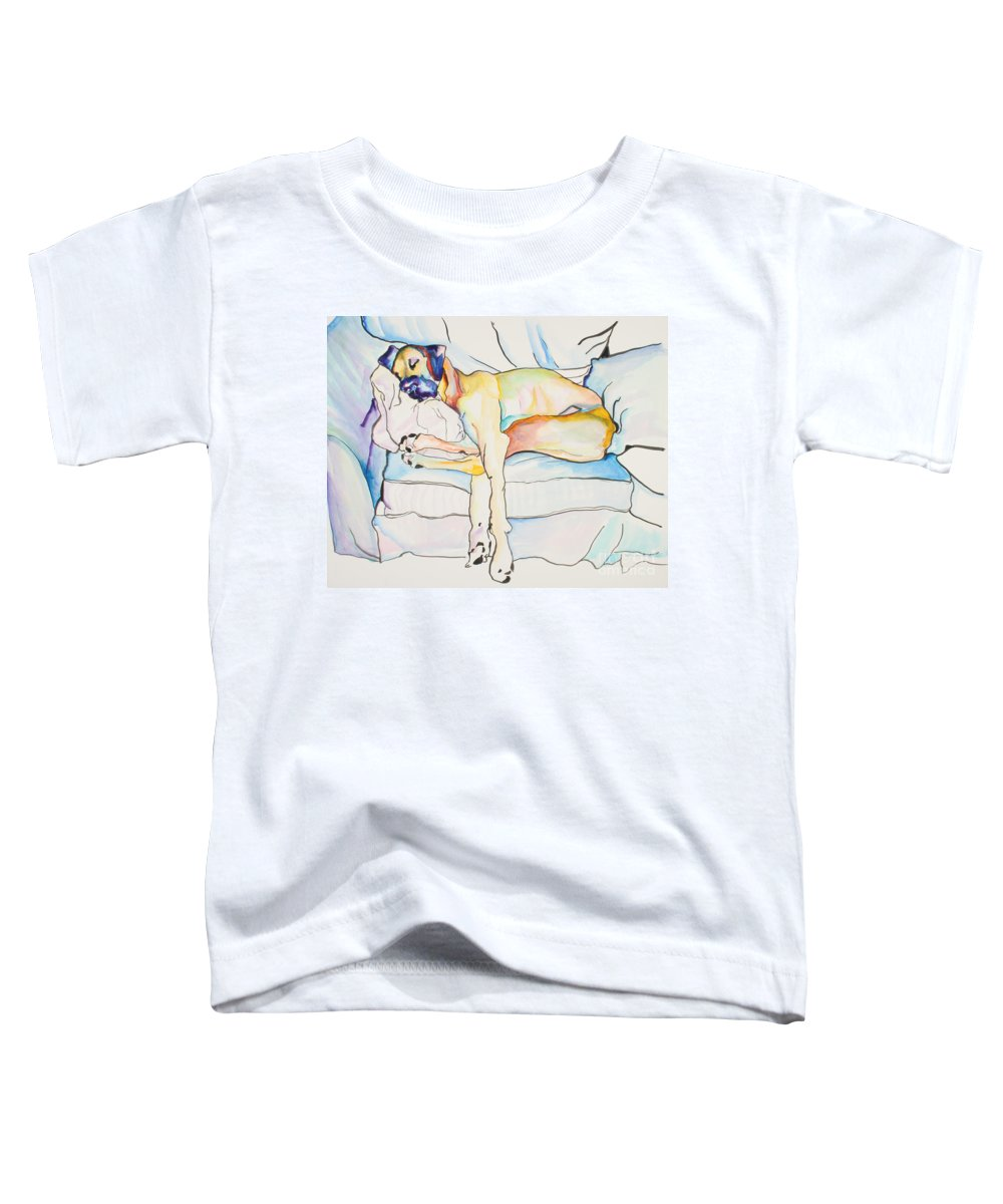 Great Dane Toddler T-Shirt featuring the painting Sleeping Beauty by Pat Saunders-White