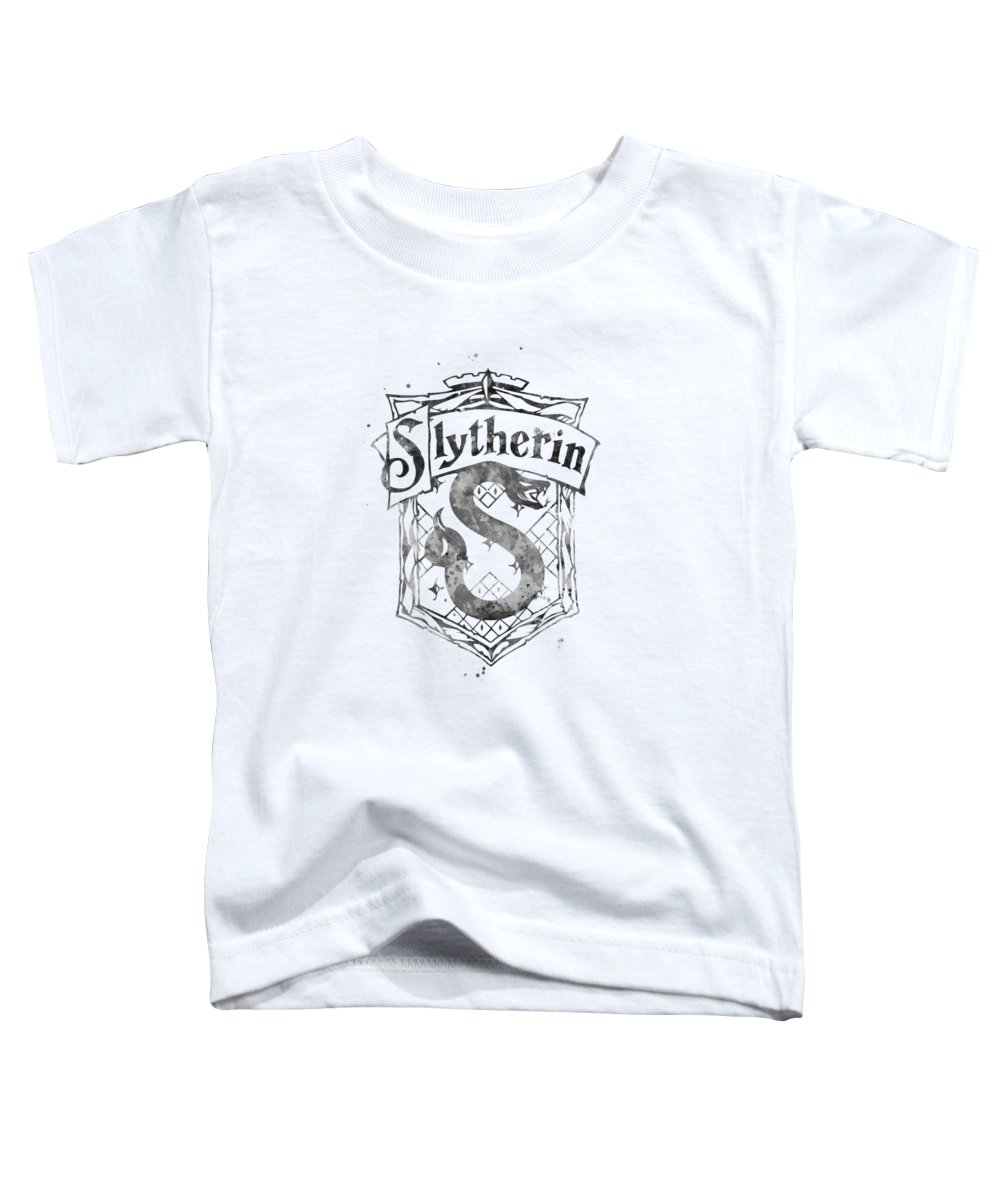 Slytherin Crest Toddler T-Shirt featuring the mixed media Slytherin by Monn Print