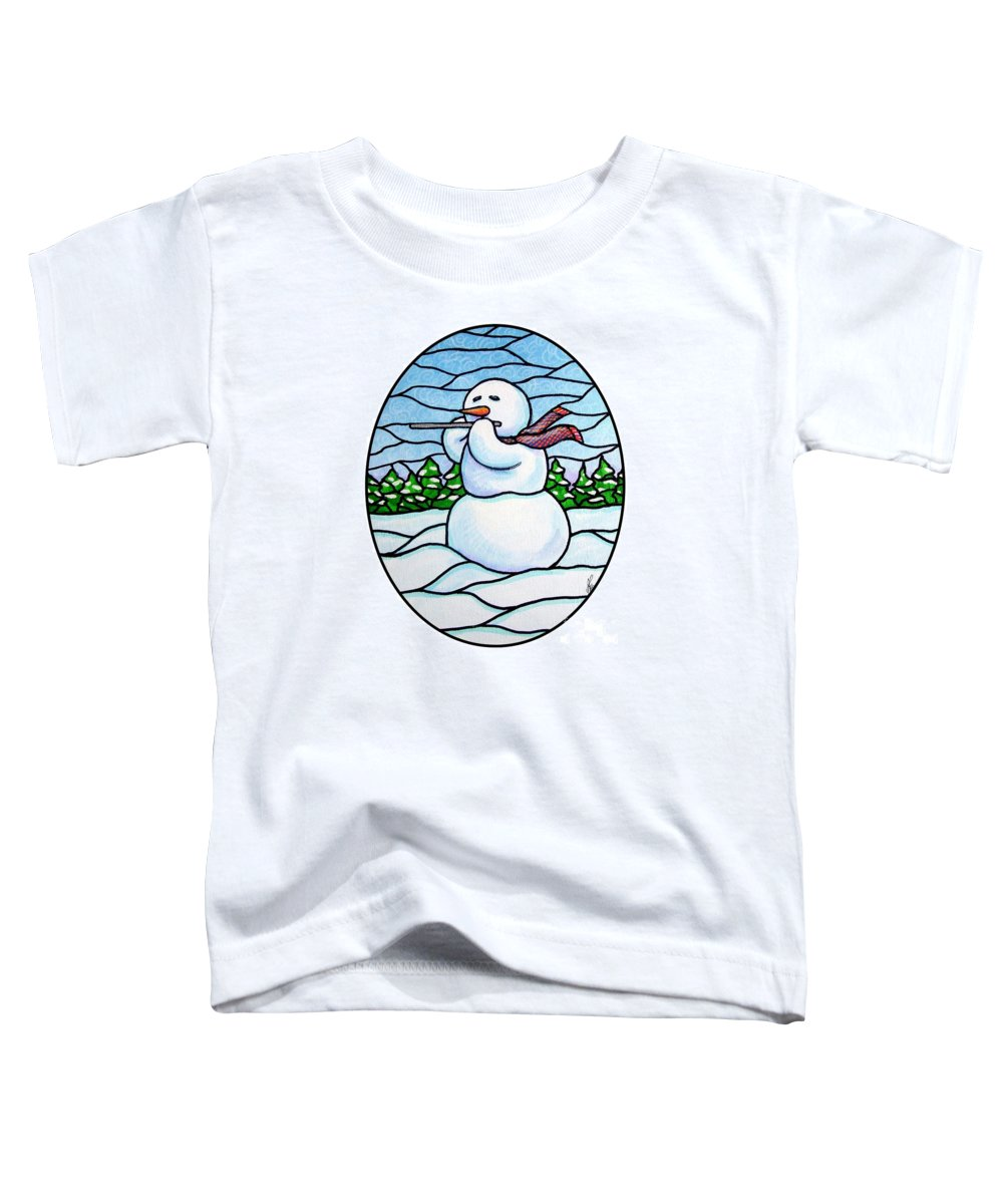 Snow Toddler T-Shirt featuring the painting Snowman Flutist by Jim Harris