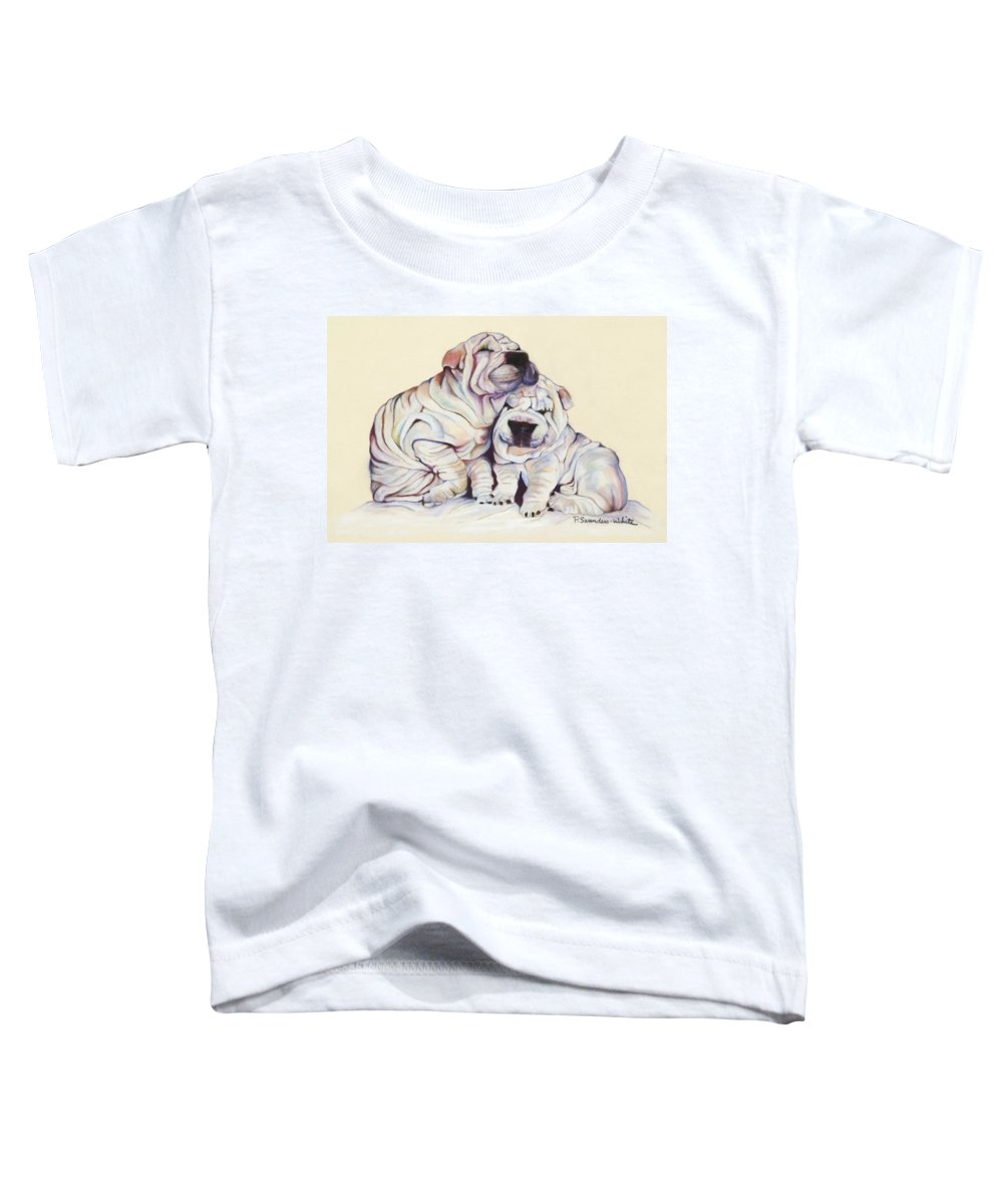Dog Painting Toddler T-Shirt featuring the pastel Snuggles by Pat Saunders-White