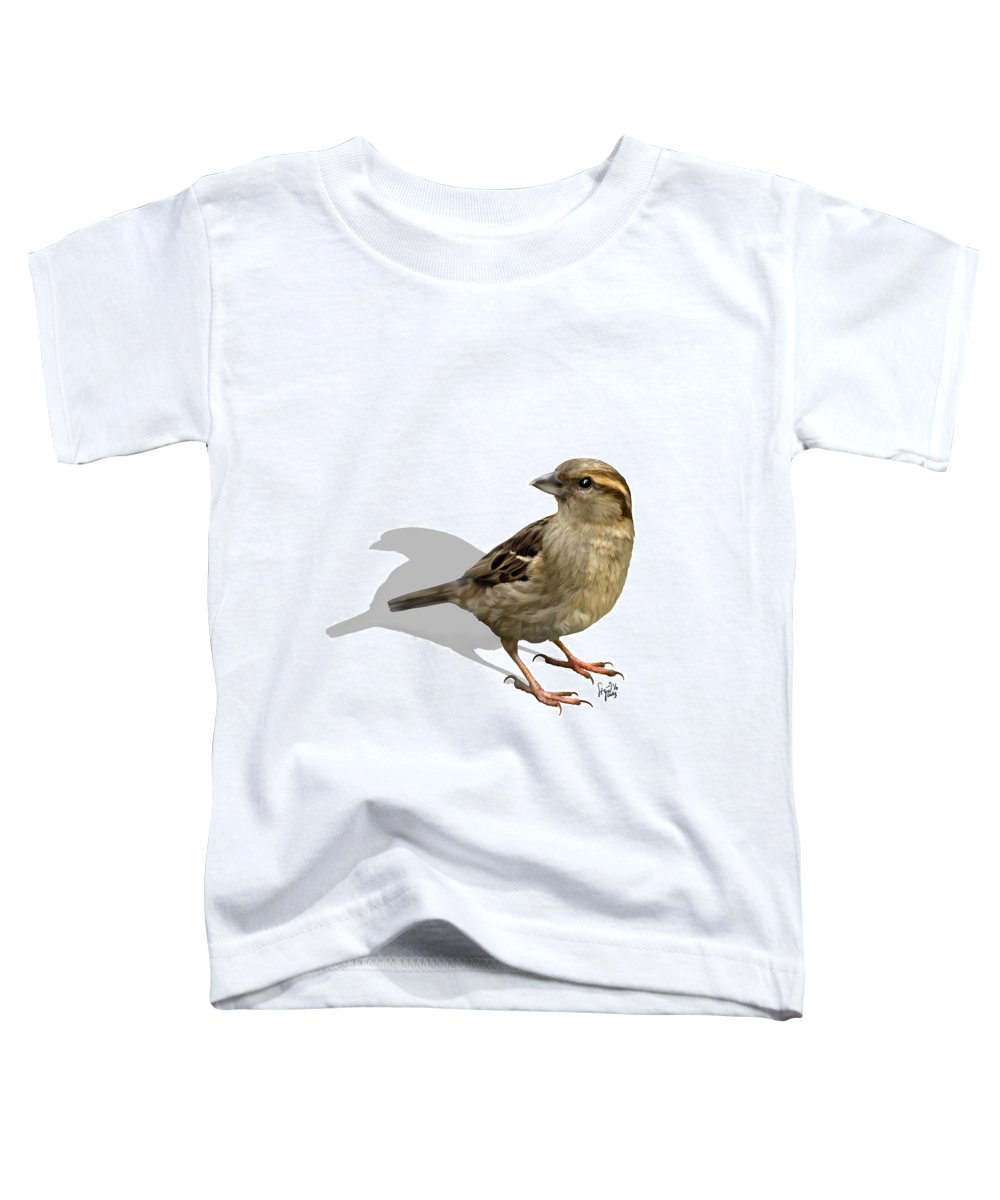 Birds Toddler T-Shirt featuring the digital art Sparrow by Sigrid Van Dort