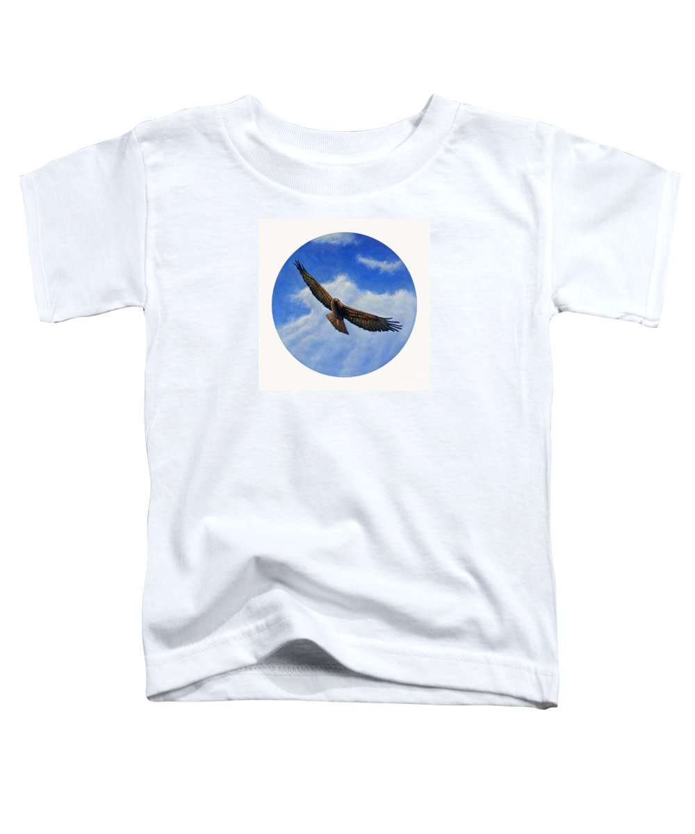 Hawk Toddler T-Shirt featuring the painting Spirit In The Wind by Brian Commerford
